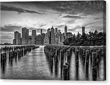 New York City Skyline Sunset Hues Bw Canvas Print by Susan Candelario