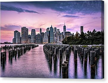 Cities Canvas Print - New York City Skyline Sunset Hues by Susan Candelario
