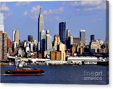 New York City Skyline With Empire State And Red Boat Canvas Print by Kathy Flood