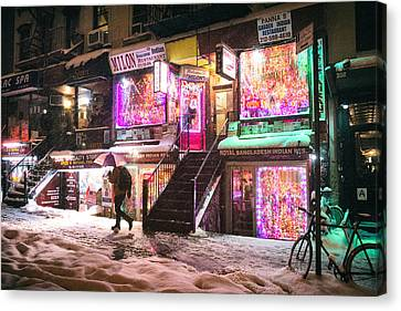 New York City - Snow And Colorful Lights At Night Canvas Print by Vivienne Gucwa