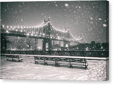 New York City - Snow At Night - Sutton Place Canvas Print by Vivienne Gucwa