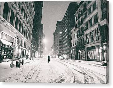 New York City - Snow - Empty Streets At Night Canvas Print by Vivienne Gucwa