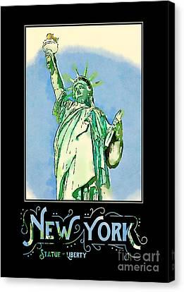New York City Statue Of Liberty Digital Watercolor 2 Canvas Print