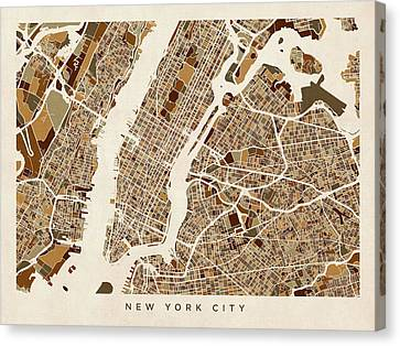 New York City Street Map Canvas Print by Michael Tompsett