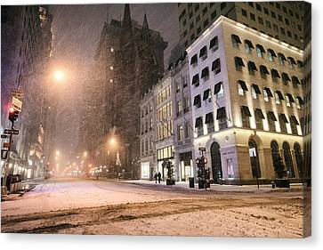 New York City Streets On A Snowy Night  Canvas Print by Vivienne Gucwa