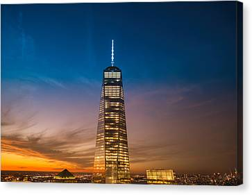 New York City - Sunset And One World Trade Center Canvas Print by Vivienne Gucwa