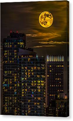 New York City Skyline Canvas Print - New York City Super Moon by Susan Candelario