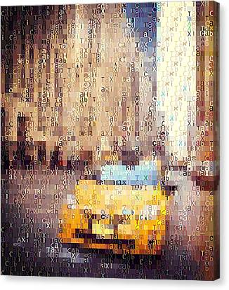 New York City Taxi Typography Canvas Print