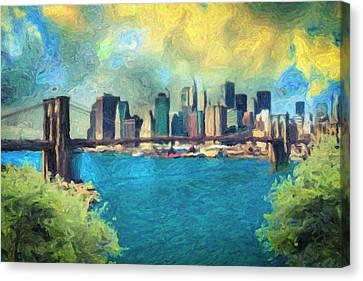 Liberty Cafe Canvas Print - New York City by Taylan Apukovska
