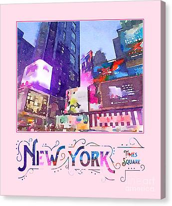 New York City Times Square Night View Digital Watercolor Canvas Print