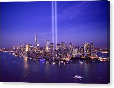 Canvas Print featuring the photograph New York City Tribute In Lights World Trade Center Wtc Manhattan Nyc by Jon Holiday