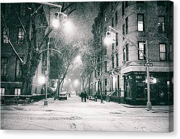 New York City - Winter Night In The West Village Canvas Print by Vivienne Gucwa