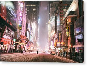 New York City - Winter Night - Times Square In The Snow Canvas Print by Vivienne Gucwa
