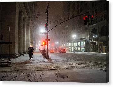 New York City Winter - Romance In The Snow Canvas Print by Vivienne Gucwa