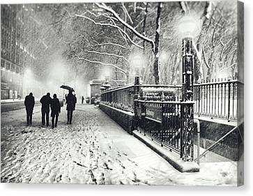New York City - Winter - Snow At Night Canvas Print