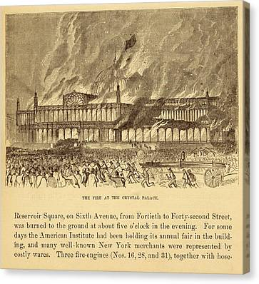 New York Crystal Palace On Fire Canvas Print by Mid-manhattan Picture Collection/new York Public Library