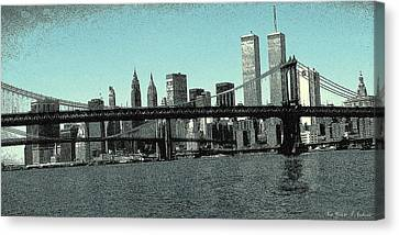 New York Downtown Manhattan Skyline - Blue Panorama Canvas Print by Art America Online Gallery