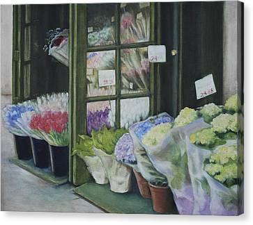 New York Flower Shop Canvas Print by Rebecca Matthews