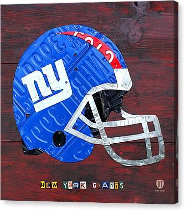New York Giants Nfl Football Helmet License Plate Art Canvas Print by Design Turnpike