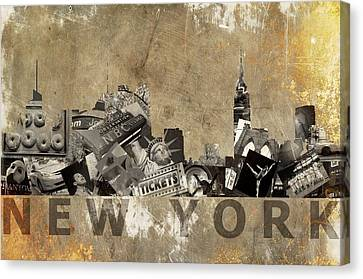 New York City Grunge Canvas Print by Suzanne Powers