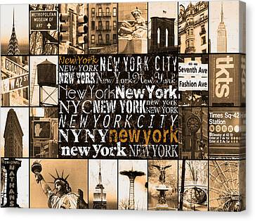 Times Square Canvas Print - New York Life In Sepia by Marilu Windvand