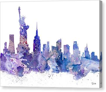 New York Canvas Print by Watercolor Girl