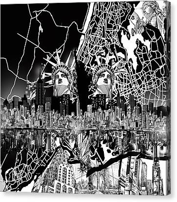 Liberty Canvas Print - New York Map Black And White 2 by Bekim Art