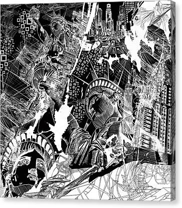 Liberty Canvas Print - New York Map Black And White by Bekim Art