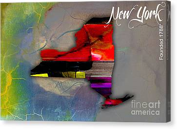 Cities Canvas Print - New York Map Watercolor by Marvin Blaine
