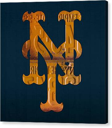 New York Mets Baseball Vintage Logo License Plate Art Canvas Print by Design Turnpike