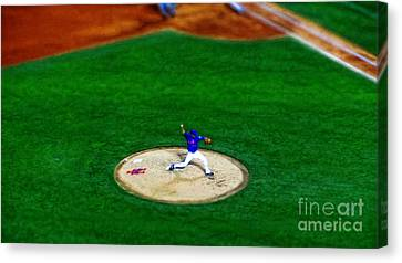 New York Mets Pitcher Abstract Canvas Print by Nishanth Gopinathan