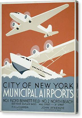 New York Municipal Airport Canvas Print by American Classic Art
