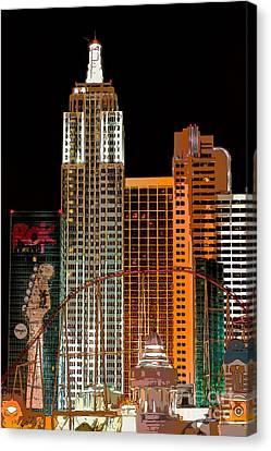New York-new York Hotel Las Vegas - Pop Art Style Canvas Print by Ian Monk