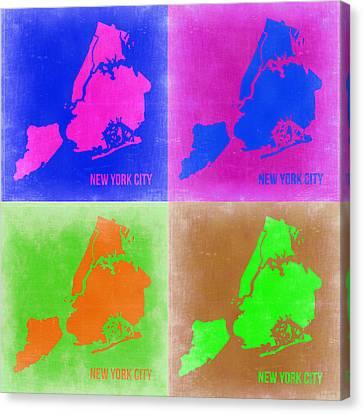New York Pop Art  Map 2 Canvas Print by Naxart Studio