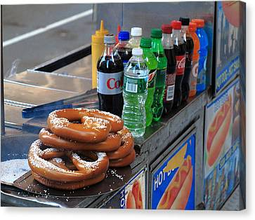 New York Pretzel Stand Canvas Print by Frank Romeo