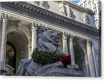 Front Steps Canvas Print - New York Public Library by David Morefield