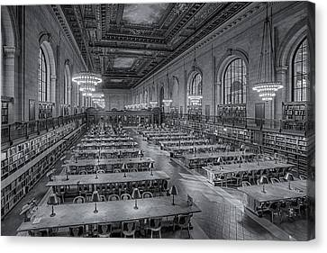 New York Public Library Rose Room Bw Canvas Print by Susan Candelario