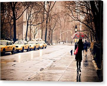 Rainy Day Canvas Print - New York Rain - Greenwich Village by Vivienne Gucwa