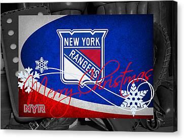 New York Rangers Christmas Canvas Print by Joe Hamilton