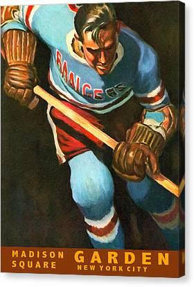 New York Rangers Vintage Poster Canvas Print by Big 88 Artworks