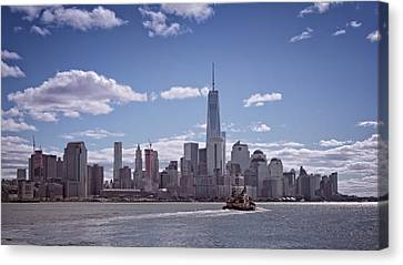 New York Skyline And Boat Canvas Print by Joan Carroll