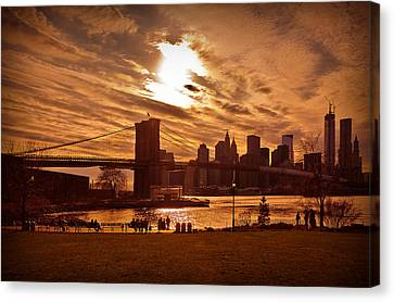 Canvas Print featuring the photograph New York Skyline And Brooklyn Bridge -- Late Afternoon by Mitchell R Grosky