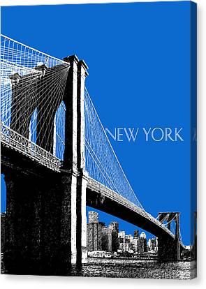 Nyc Canvas Print - New York Skyline Brooklyn Bridge - Blue by DB Artist