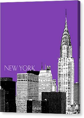 New York Skyline Chrysler Building - Purple Canvas Print