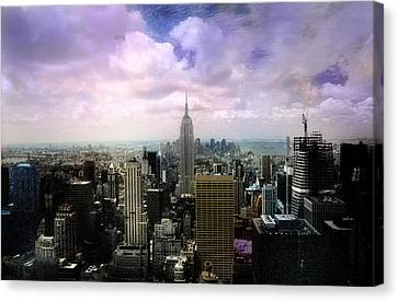 Canvas Print featuring the photograph New York City Skyline - Infrared - Color by Dave Beckerman