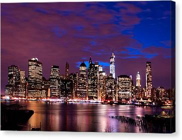 Canvas Print featuring the photograph New York Skyline Magic Hour-- From Brooklyn Heights Promenade by Mitchell R Grosky