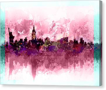 Modern Digital Art Digital Art Canvas Print - New York Skyline Purple by Bekim Art
