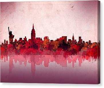 Abstract Digital Canvas Print - New York Skyline Red by Bekim Art