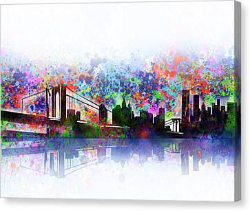 Abstract Digital Canvas Print - New York Skyline Splats 2 by Bekim Art