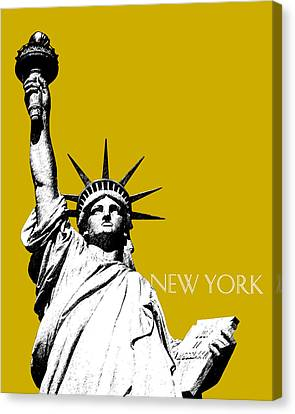 New York Skyline Statue Of Liberty - Gold Canvas Print